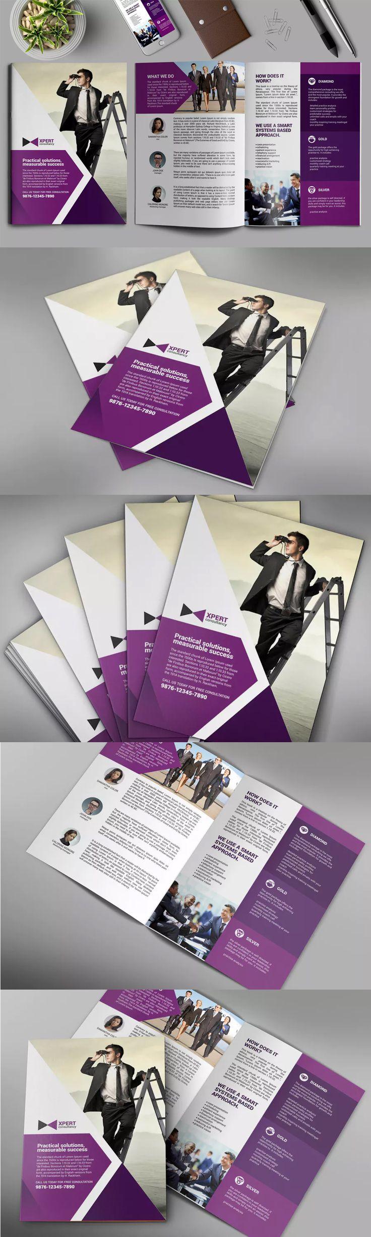 Bifold Brochure Template PSD A3