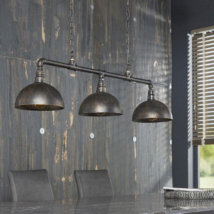 Industriële Hanglamp 'Barrett' 3-lampswww.lampenpartner.nl  Voor boven eettafel  :: love it::