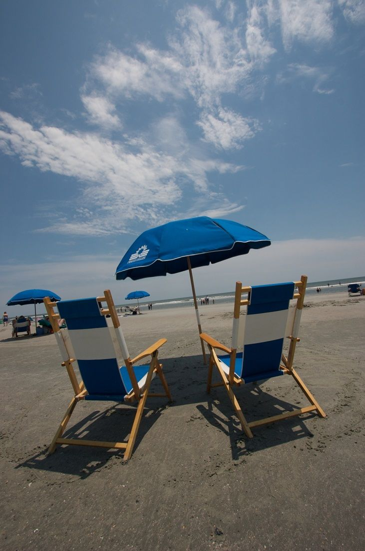 Beachgoers at Folly Beach County Park can enjoy the sunshine from the comfort of rental chairs and umbrellas. (South Carolina)