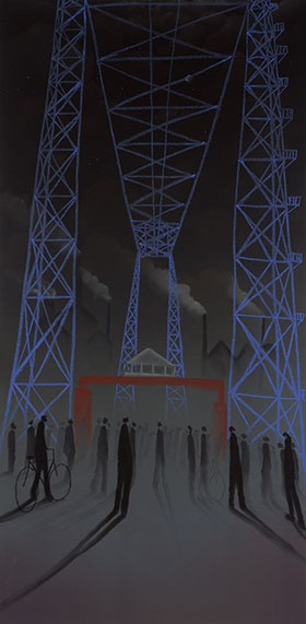 """Lady of the North"" view of the Transporter Bridge by Middlesbrough artist Mackenzie Thorpe."
