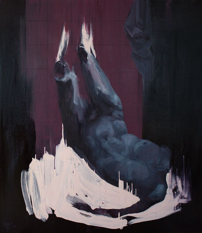 "Sanna Maria Paananen and Tero Ulvila, ""Pudotettu"" (Fallen), 160x140cm, oil, 2014"