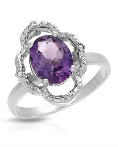 Brand New Ring With 1.68ctw Precious Stones - Genuine Amethyst and  Diamonds  925 Sterling silver - Certificate Available.