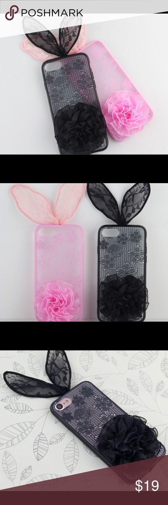 Bunny IPhone 6s, 6s Plus, 7, 7 plus SUPER CUTE iPhone bunny cases :) I have some for 6s,6s Plus, 7 , and 7 Plus . I absolutely love these you guys and these make a cute Christmas gifts or holiday stuffers :) Case is black and pink . iPhone, Samsung , phone, cases, Cute, Chic :) TEASE Accessories Phone Cases