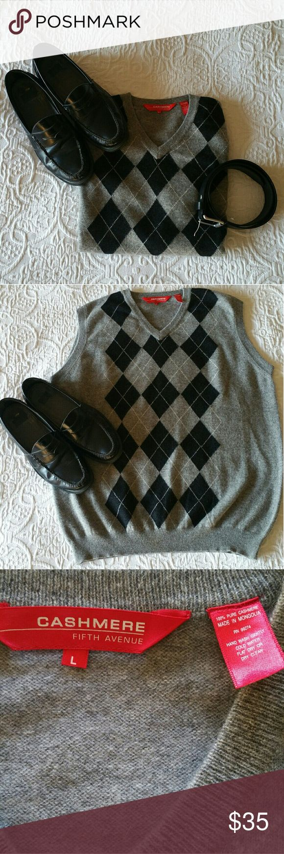 """EUC Men's Cashmere Argyle Sweater Vest This EUC Men's Cashmere Argyle Sweater Vest is grey and black and measures 23"""" across from the bottom of the armholes and 27.5"""" long from the shoulder to the bottom. Fifth Avenue Sweaters V-Neck"""