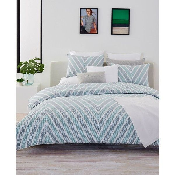 Lacoste Home Bandol Twin/Twin Xl Comforter Set ($144) ❤ liked on Polyvore featuring home, bed & bath, bedding, comforters, green, green king comforter sets, king size comforters, king comforter, king bedding and chevron comforter set