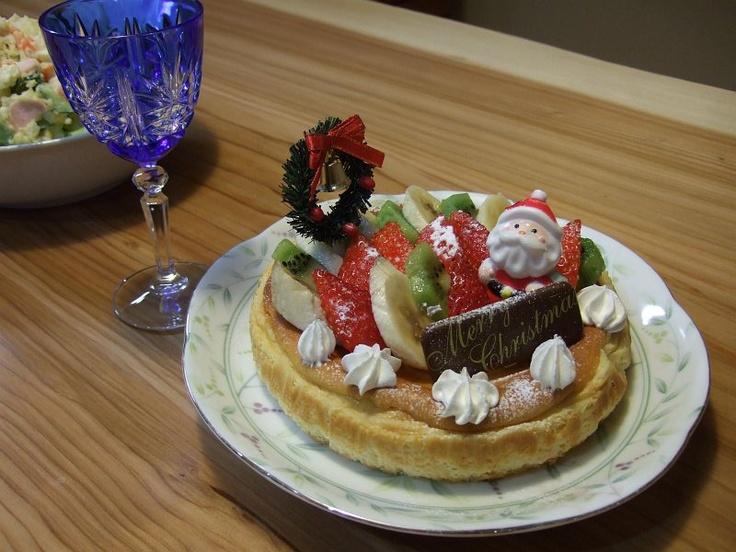 2011年クリスマスケーキ  妻と娘たちに手作りチーズケーキです。