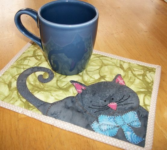 Paper piece cat together and then appliqué on background....3D bow? Ideas...:)