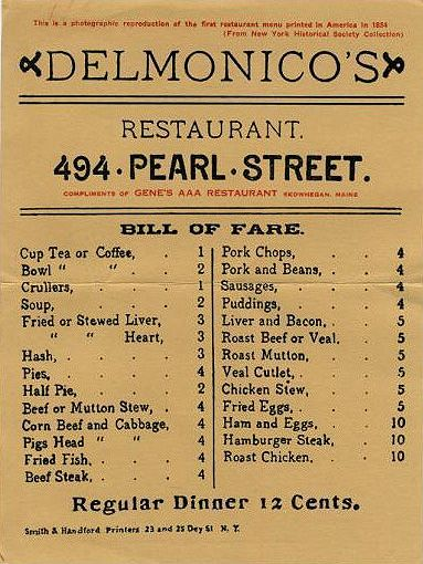 "Vintage Italian Menus | ... ,"" as a reproduction of a genuine Delmonico's menu from 1834"