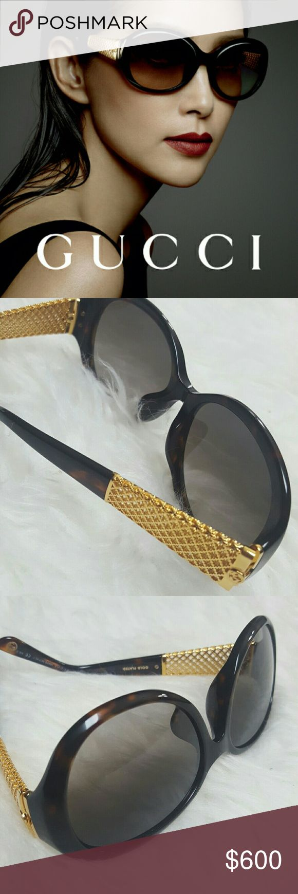 Gucci Italy Designer Gold Plated Sunglasses NEW! Gucci Designer Sunglasses in Its Iconic Diamantissima Gold Plated Mesh Temples! An Absolute Head Turner in Its Stunning GG Iconic Logo on Each Temple!  Crafted with Highest Quality with Tortoise Frame and Brown Gradient Lenses with Maximum UV Protection!  Made in Italy! Gucci World Renowned Designer Brand in Its Bold Design, This Pair is Sure to Have Made it Legendary and Highly Desired! GG 3706/F/S  58 17 130, Comes with Original Case and…
