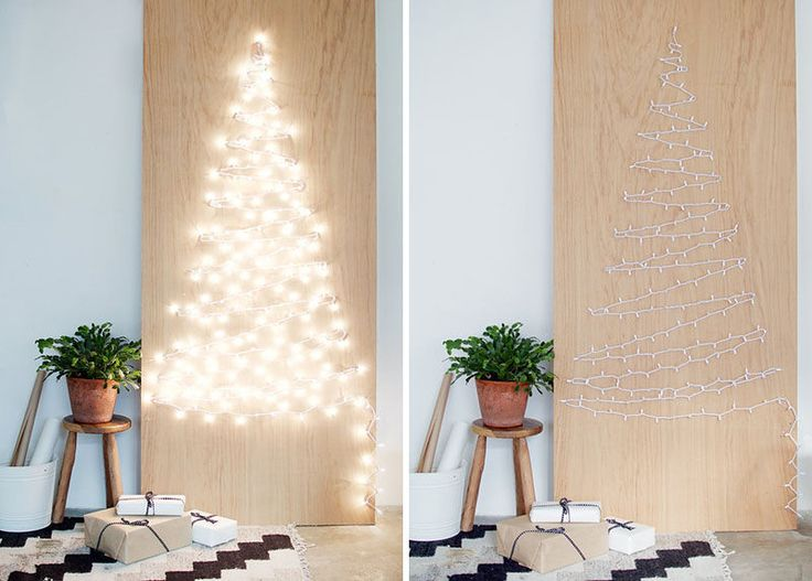 """Christmas Decor Ideas - 14 DIY Alternative Modern Christmas Trees // This Christmas tree alternative might be simple but it certainly makes a statement when the strings of lights are plugged in and the """"tree"""" is all lit up."""