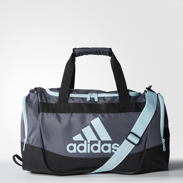 adidas Defender 2 Duffel Bag Small ($35) ❤ liked on Polyvore featuring bags, logo bags, white duffle bag, duffel bags, adidas bag and adidas