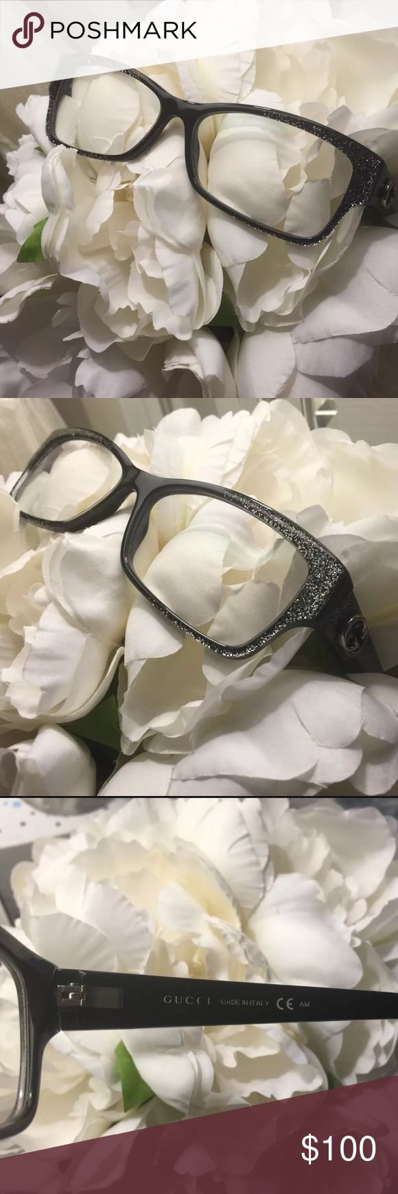 Gucci Glitter Eyeglasses Black with silver glitter Gucci eyeglasses. Only worn a few times. Like new. In excellent condition! Comes with original Gucci eyeglass case. Gucci Accessories Sunglasses