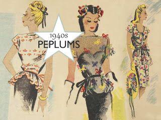 Peplums illustration - dáng váy mới xuất hiện trong những năm 1940s gần giống với váy bút chì. Cho đến ngày nay, chân váy peplums vẫn là xu hướng thời trang nổi bật của phụ nữ. Nó khiến cho vóc dáng người phụ nữ dường như thanh mảnh hơn do kiểu ôm sát,  xòe ra ở phần trên tạo thân hình chữ S.