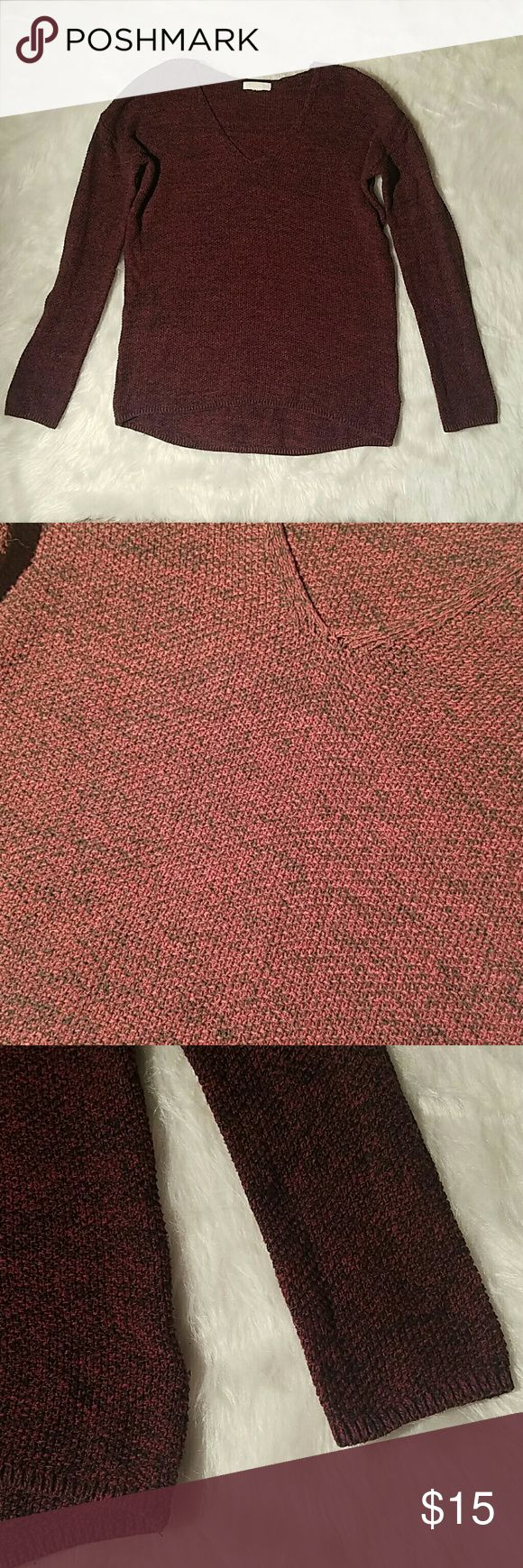 Maroon V-neck sweater Maroon and black marled sweater, EUC, soft cotton/ polyester blend Sweaters V-Necks