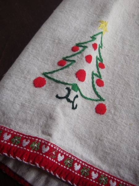 北欧スエーデンのビンテージテーブルクロスクリスマス即決 ¥2800円 〆03月08日