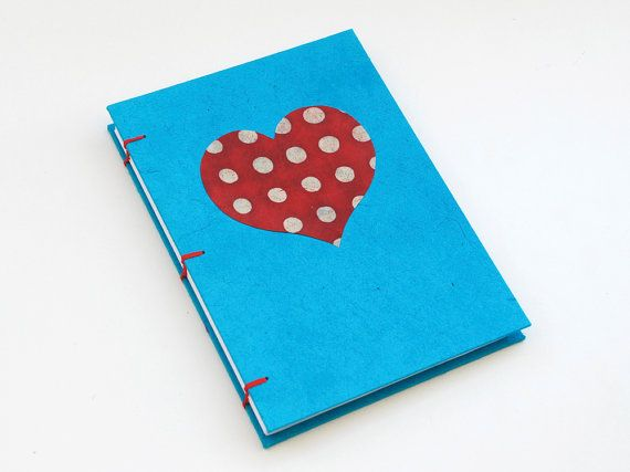 Heart handmade coptic stitched notebook Cyan&Red by PiCKEE on Etsy, €13.90