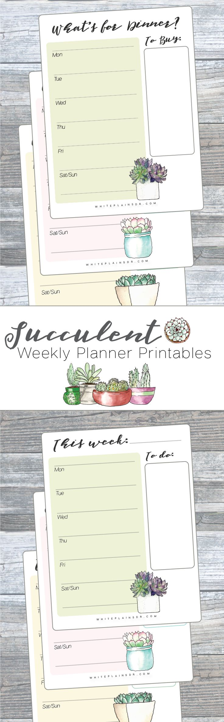 Free Succulent Weekly Planner and Meal Planner Printables by White Plains Dr.