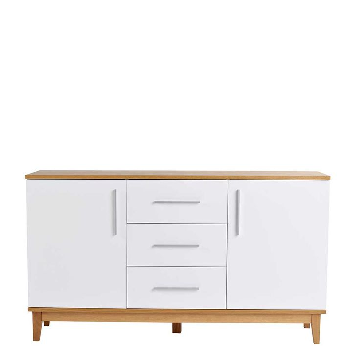 wohnzimmer sideboard in wei mit eiche massivholz jetzt bestellen unter https moebel. Black Bedroom Furniture Sets. Home Design Ideas