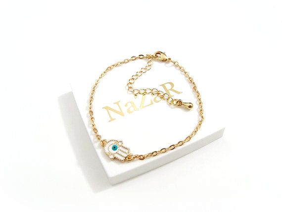 White Hamsa Bracelet with Roségold Chain and Tiny Hamsa Charm - Hamsa bracelet arrives in a white gift box! on Etsy, $12.51