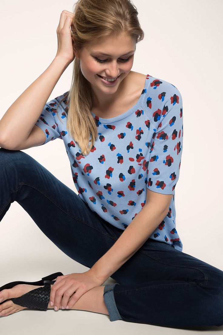 Esprit - Finstickad tröja med leopardtryck i Esprits Online-Shop