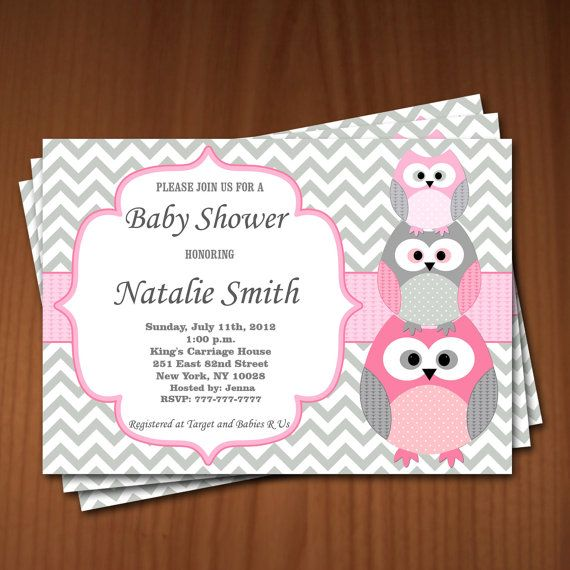 Owl Baby Shower Invitation Girl Baby Shower invitations Printable Baby Shower Invite -FREE Thank You Card - editable pdf Download (534) rose on Etsy, $10.00
