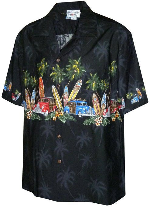 Surf Board Palm Hawaiian Shirts - Mens Hawaiian Shirts - Aloha Shirt - Hawaiian Clothing - 100% Cotton Black Large