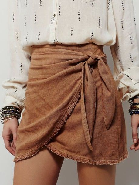 Skirt: suede boho bow bow wrapped ruched printed shirt back to school summer outfits fall outfits