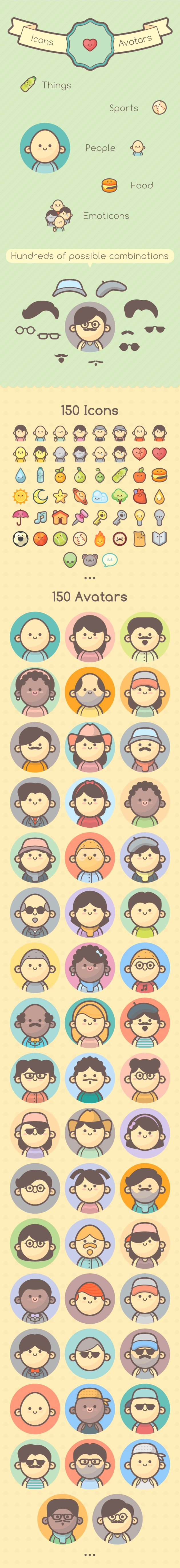 300 Cute Icons and Avatars for Kids and Girls (kawaii Style)