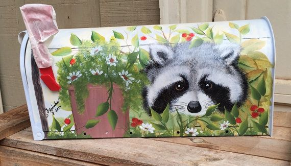 Raccoon hand painted rural mailbox by ArtwithBetty on Etsy