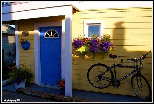 Yellow House White Trim Bright Blue Door Yellow House