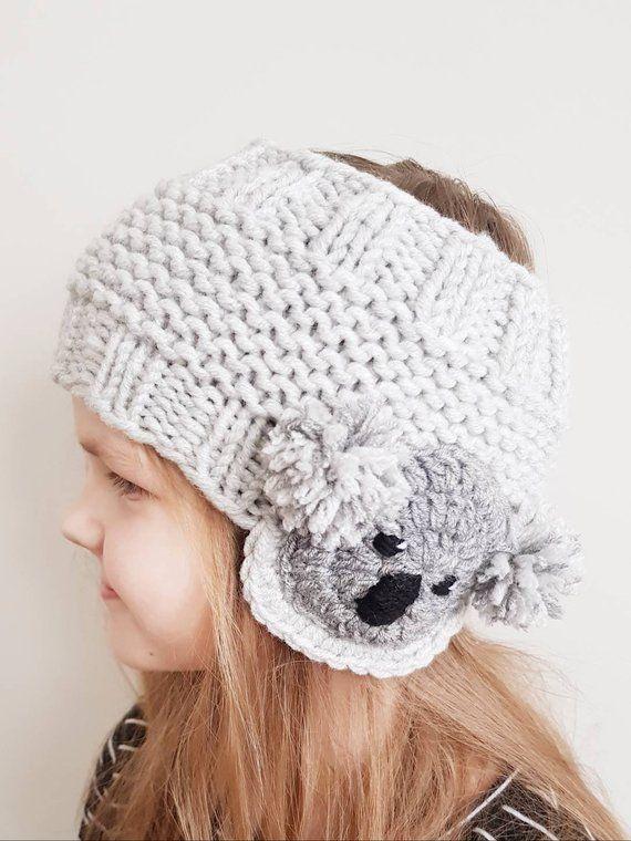 Koala Headband, Ear Warmer, Knit Headband, Head Wrap, Girls Headband ...