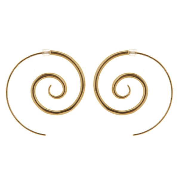 "Spiral 9ct Gold Plated Earrings Large - These popular 9ct Gold Plated spiral earrings come in three sizes (sold separately) with a rubber earring back to hold them in. Remember the Stone Arrow Motto ""you can never have too many spirals!"" Hook length curve: 55mm or 2.2 inches (approx).  Spiral diameter: 27mm or 1.1 inch.  Also available in plain Sterling Silver."
