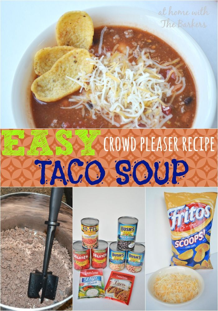 Easy Crowd Pleaser Recipe Taco Soup is perfect for a Super Bowl party. #Superbowl #recipe #food