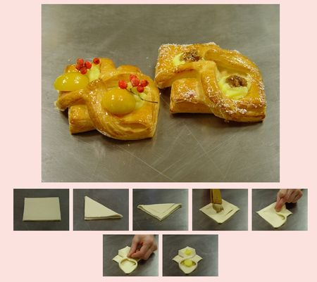 Danish pastry dough - puff pastry cutting shapes