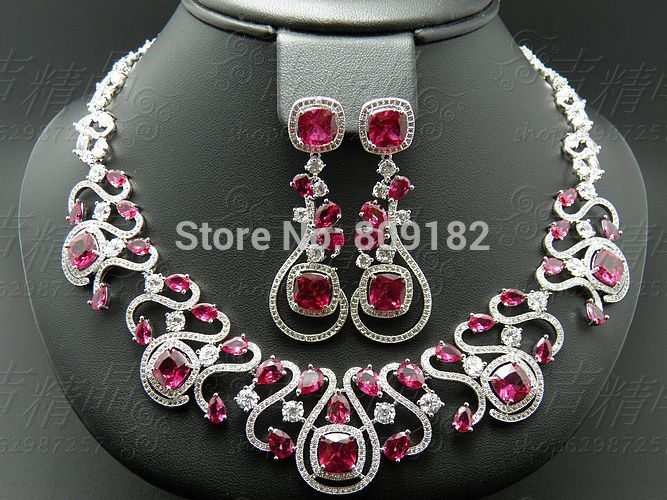 Find More Information About 2015 New Fashion Wedding Necklace Earring SetLuxury Red Blue