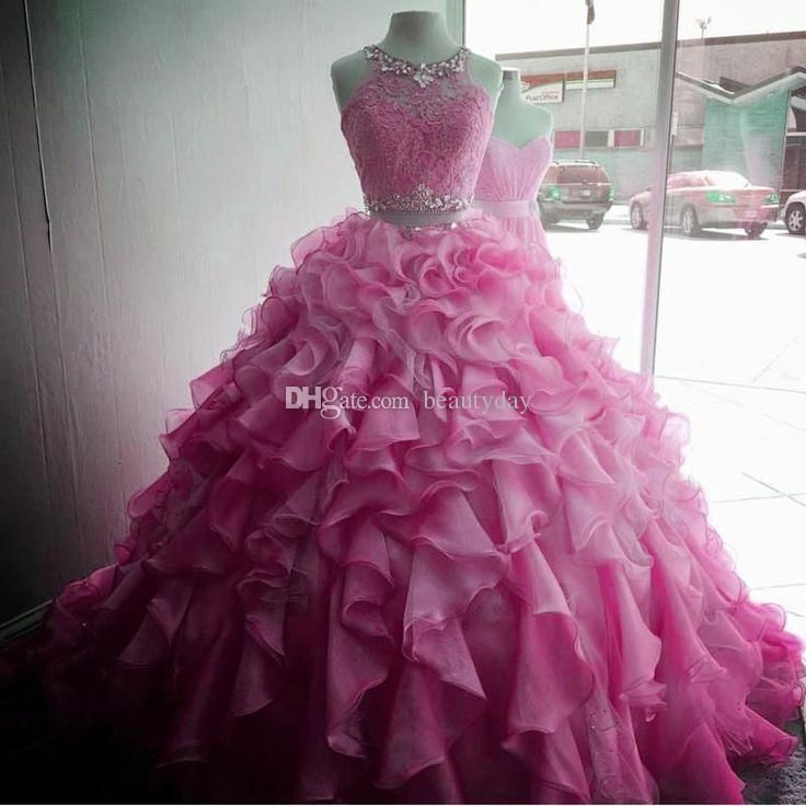 Two Pieces Quinceanera Dresses Ball Gown Pink 2018 Sweet 16 Dresses Full  Lace Top Gowns Beads Crystals Ruffles Plus Size Vestidos De 15 527b59226fae