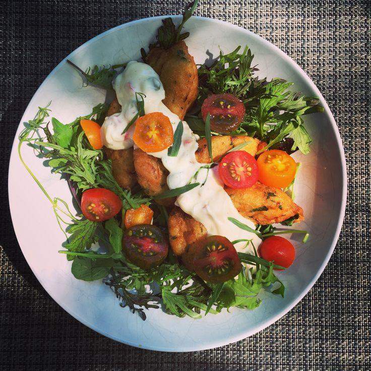 @TravelWithMarie stunning Portuguese fish cakes with farm fresh veggies