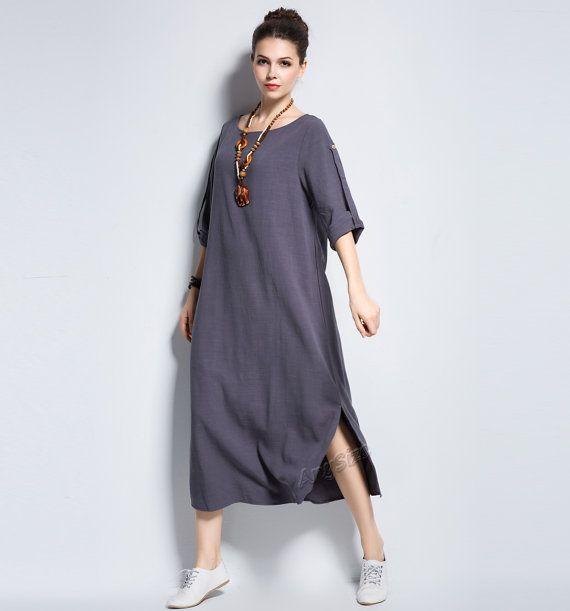 Anysize sides slit coconut buttons linen dress plus size dress plus size tops plus size clothing spring autumn summer dress clothing Y140