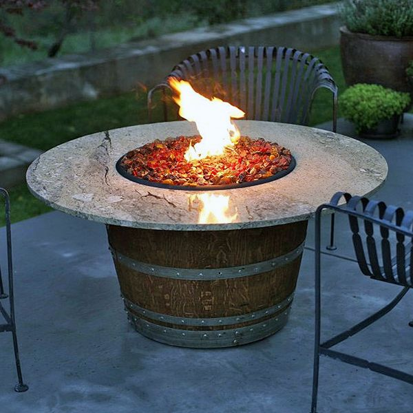 Reserve Wine Barrel Fire Pit Table - Granite by Vin de Flame