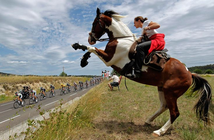 """The peloton passes a woman on a horse during the 13th stage of the Tour de France, on July 14, 2012. (Reuters/Stephane Mahe)"""