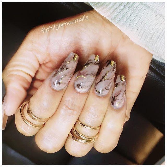 """Marble Nails"" Nageldesign Ideen"