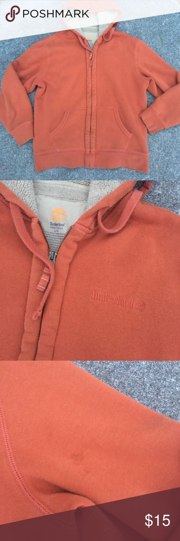Timberland hoodie Cotton blend exterior 100% polyester thick lining inside.. extremely warm. Great condition one spot on arm. Rust orange like color BICE HOODIE Timberland Jackets & Coats