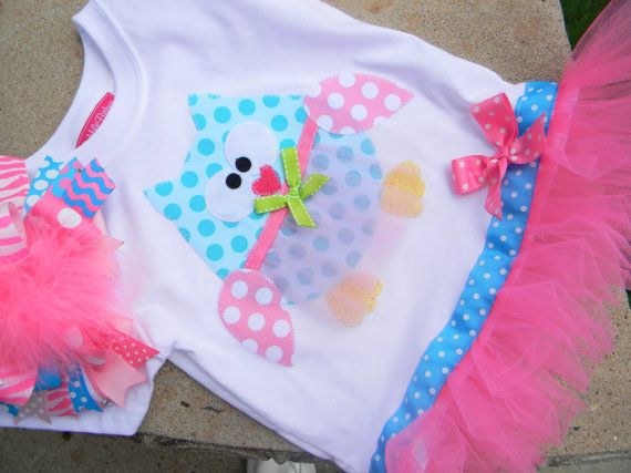 EXCLUSIVE Ballerina Owl Applique Tutu Tshirt Dress by BubbleBabys, $32.95
