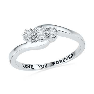 """Promise ring Diamond Accent Three Stone Slant Promise Ring in Sterling Silver (1 Line) """"with all my love"""""""