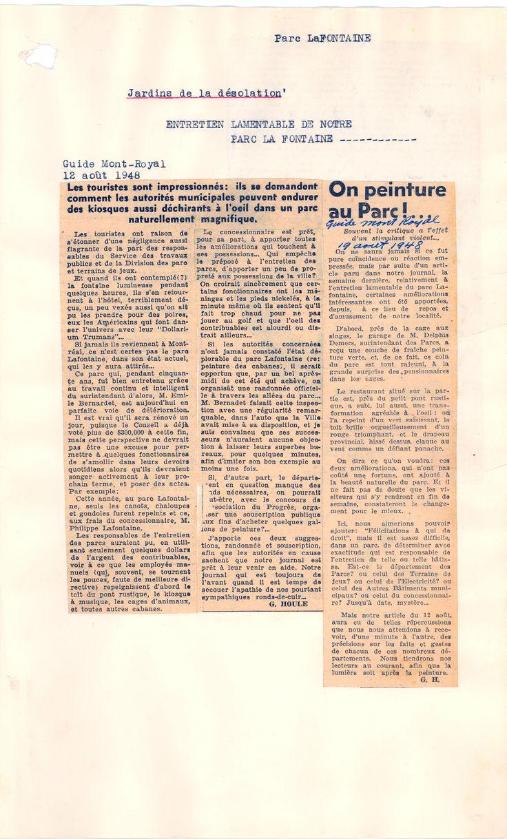 """Article du journal """"Guide Mont-Royal"""" du 12 août 1948 SOURCE: Archives de la Ville de Montréal;  code: VM6-S10-D1901-38-A"""