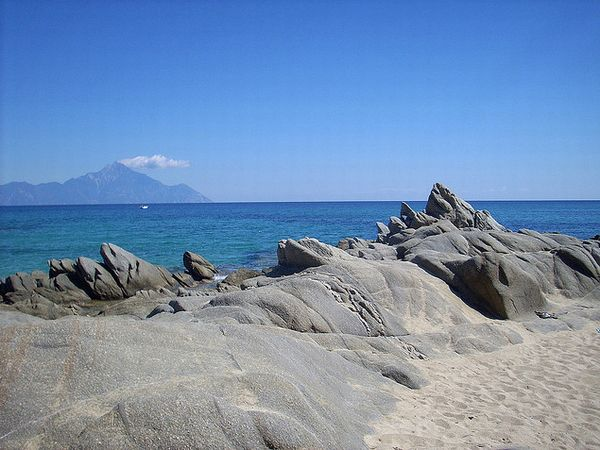 Sithonia beaches with view to Holy Mount Athos.