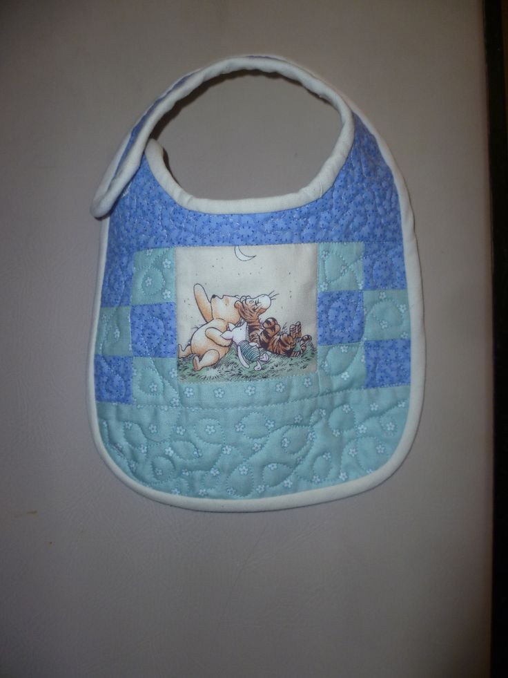 I quilted this bib for my niece's new baby.