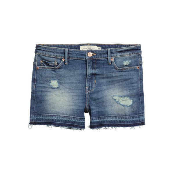 Denim Shorts Trashed $29.99 (€26) ❤ liked on Polyvore featuring shorts, destroyed shorts, torn jean shorts, ripped denim shorts, destroyed denim shorts and ripped shorts