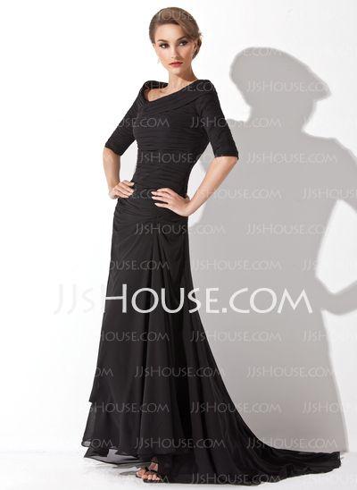 Evening Dresses - $137.49 - A-Line/Princess Off-the-Shoulder Asymmetrical Chiffon ..