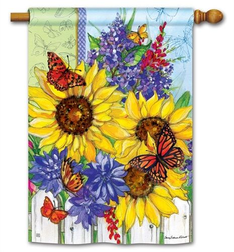 Magnet Works House Flag   Butterflies And Blossoms Decorative Flag At Garden  Hou